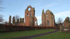 Timelapse of Arbroath Abbey with clouds Scotland Stock Footage