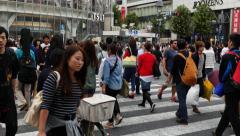 Busy Shibuya Scramble Crossing Daytime - Shibuya, Tokyo Japan Stock Footage