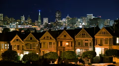 Time Lapse of Victorian Houses & Skyline in San Francisco at Night - stock footage