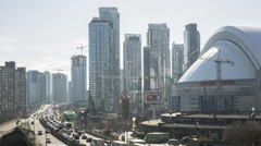 Toronto Freeway with Rogers Centre Stock Footage