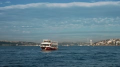 4k slow motion shot of a boat going on full speed on Bosphorus Stock Footage