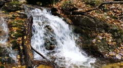 4K Forked waterfall splashing on rocks and stones in a wild nature. Stock Footage