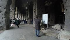 Inside the Colosseum, the famous sightseeing in Rome, Italy. - stock footage