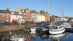 Boats in Arbroath harbour Scotland Stock Footage