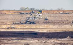Opencast brown coal mine. open pit. Stock Photos