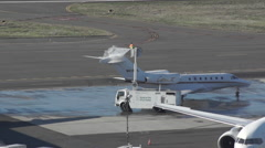 Deicer spray on the Tail of a jet Stock Footage