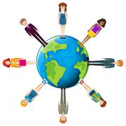 Global network of people - stock illustration