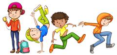 Four hiphop dancers - stock illustration