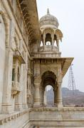 jaswant thada. ornately carved white marble tomb of the former rulers of jodh - stock photo