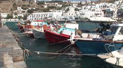 Fishing Boats in Mykonos, Greece. Not graded. Stock Footage
