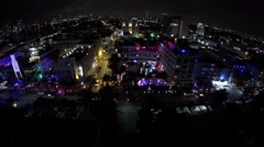 Ocean drive night hyperlapse 4k aerial video Stock Footage
