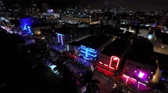 ocean drive night aerial 6 - stock footage