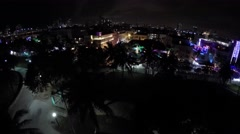 Ocean Drive night aerial 4k Stock Footage