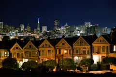 4K Time Lapse of Victorian Houses & Skyline in San Francisco at Night Full Frame - stock footage