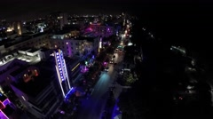 Ocean Drive night aerial 4k 2 - stock footage
