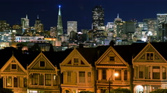 4K Time Lapse of Victorian Houses & Skyline in San Francisco at Night - stock footage