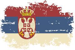 Serbian grunge flag. Vector illustration. - stock illustration