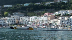 Stock Video Footage of Capri Harbour, Italy. Not graded.