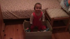 Stock Video Footage of Funny baby in a toy box