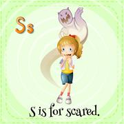 A letter S for scared Stock Illustration