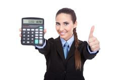 Good year - accountant holding a calculator Stock Photos