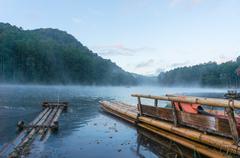 Bamboo raft on Pang Ung reservoir lake. - stock photo