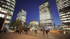 Stock Video Footage of Canary Wharf London Canada Square by night