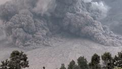 Amazing Pyroclastic Flow Volcanic Eruption Slow Zoom Out - stock footage