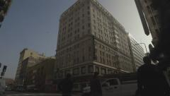 Downtown Major City Los Angeles Panning Shot Wide Stock Footage