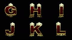 loop alpha matted golden alphabet - stock footage