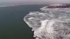 Aerials over the Canada - U.S. border along the St. Clair River. Stock Footage