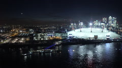 Stock Video Footage of The O2 Arena London by night aerial view