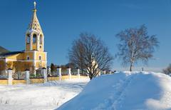 Russian orthodox church in the cold winter Stock Photos