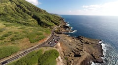 Aerial over south shore of Oahu Stock Footage