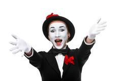 Portrait of the surprised and joyful mime with open mouth - stock photo
