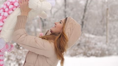 Happy Mother with Baby in Winter Stock Footage