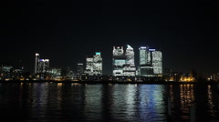 London skyline Canary Wharf financial district by night - stock footage