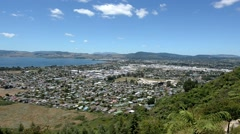 Aerial view of Rotorua New Zealand 01 Stock Footage