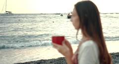 Beautiful Young Woman Drinking Coffee At The Beach Sunrise Sunset Summer Stock Footage