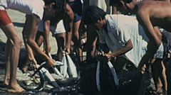 Acapulco 1975: fisherman taking fish from the net Stock Footage