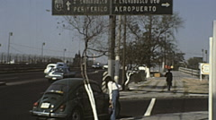 Mexico city 1975: traffic near the airport Stock Footage