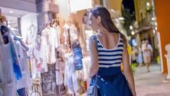 Beautiful Young Woman Walking Downtown Fashion Shopping Dress Vacation Holiday Stock Footage