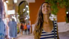 Beautiful Young Woman Female Walking Down Shopping Street Smiling Consumerism Stock Footage