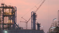 Evening scene of chemical plant Stock Footage