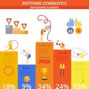 Gymnastics Infographics Set - stock illustration