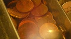 Pennies in cash register Stock Footage