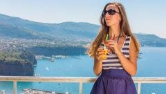 Beautiful Young Woman Enjoying Tropical View Sea Travel Holiday Vacation Freedom Stock Footage