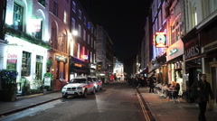 London street view in SOHO entertainment district - stock footage