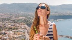 Beautiful Young Woman On Holiday Vacation Drinking Cocktail Aerial View Tropical Stock Footage