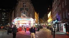 Narrow lane in London Soho entertainment district - stock footage